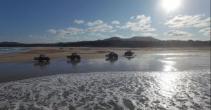 Trattori in viaggio in riva al mare